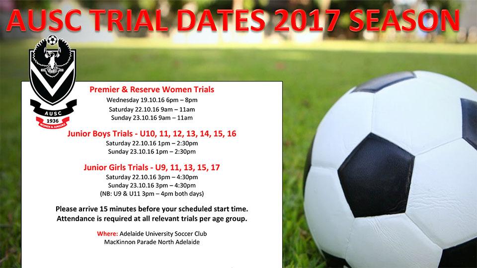 2017 AUSC trial dates